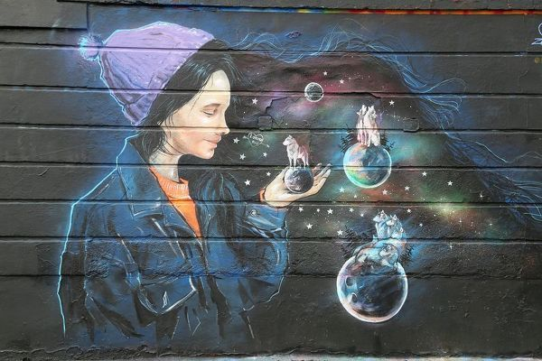 Girl with animals. Artwith animals on balls against wall