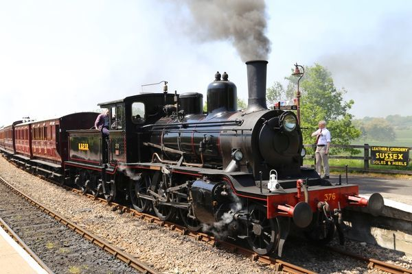 Kent and East Sussex railway, Northiam station. Steam train built in Sweden by Nydquist and Holm in 1919 for Norwegian railway, engine no 376