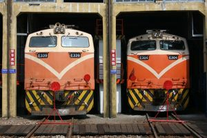 Locomotives at Changhua Roundhouse, Taiwan