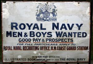 Royal Navy recruitment vintage advertising poster