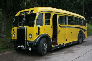 Vintage bus at Bishops Lydeard station, Somerset, UK