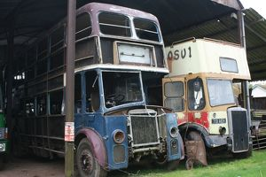 Vintage buses at Bishops Lydeard station, Somerset, UK