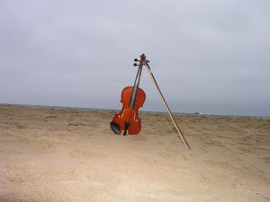 Violin on beach