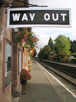 Way Out, Crowcombe Heathfield station, West Somerset Railway