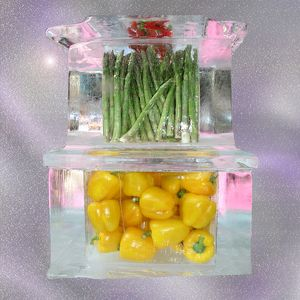 Asparagus and peppers set in ice