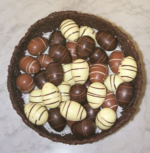 Mini Easter eggs in chocolate nest