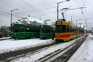 Swiss trams at BVB Basel depot, Switzerland