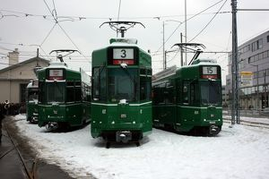 Swiss trams at BVB M-Parc depot, Basel, Switzerland